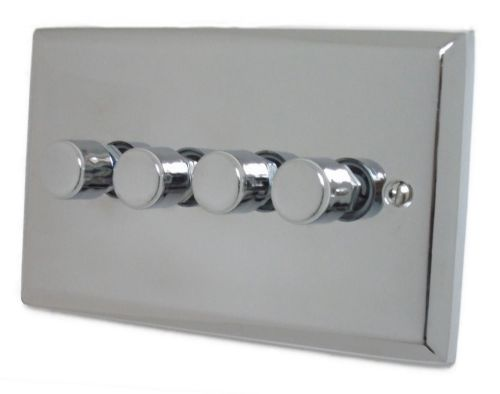 G&H SC14 Spectrum Plate Polished Chrome 4 Gang 1 or 2 Way 40-400W Dimmer Switch